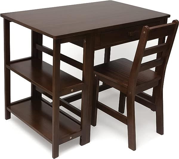 Lipper International 584WN Child S Work Station Desk And Chair Walnut Finish