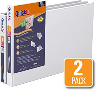 QuickFit Heavy Duty 11 x 17 Inch Spreadsheet View Binder, 1 Inch, Locking Angle D Ring, White, 2 Pack (94010-02)