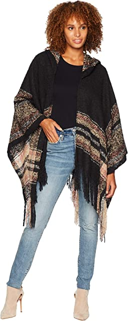 BSP3545 Open Front Knit Poncho with Hood
