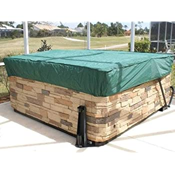 Covermates – Square Hot Tub Cover – 84W x 84D x 14H – Classic – 12-Gauge Vinyl – Polyester Lining for Extra Stability – Elastic Hem for Secure Fit – 2 YR Warranty – Weather Resistant - Green