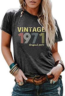 1971 Vintage Shirt 50th Birthday Gifts for Women Funny Graphic T Shirts Retro Birthday Party Casual Tee Tops