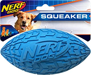 Nerf Dog Tire Squeak Football Toy, Medium, Blue
