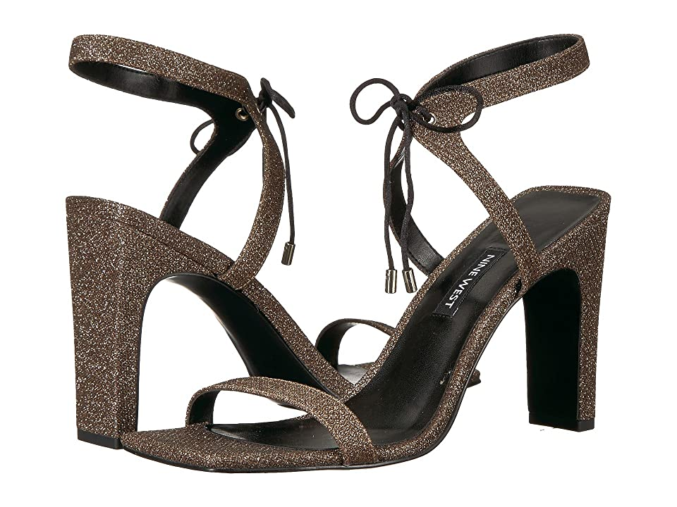 Nine West Longitano Heel Sandal (Black Natural Fabric) Women