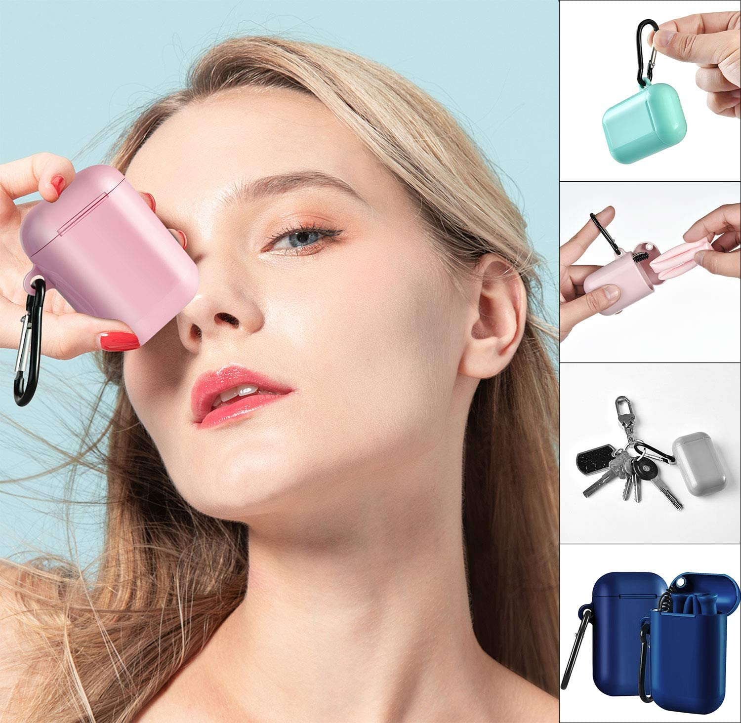 ALINK Reusable Silicone Collapsible Straws BPA Free 4 Pack Portable Drinking Straw with Colorful Carrying Case and Cleaning Brush Pink//Fruit Green//Grass Green//Light Blue)