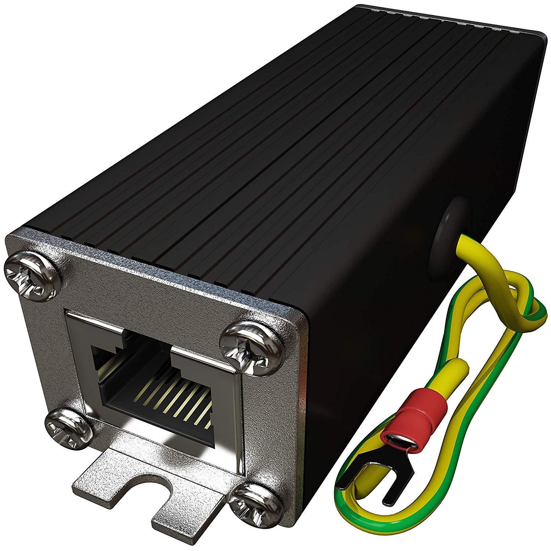 Ethernet Surge Protector PoE+ Gigabit - Gas Discharge Tube for Full Protection - Mounting Flange - RJ45 Lightning Suppressor - LAN Network CAT5/CAT6 Thunder Arrestor - GbE 1000 Mbps - Tupavco TP302