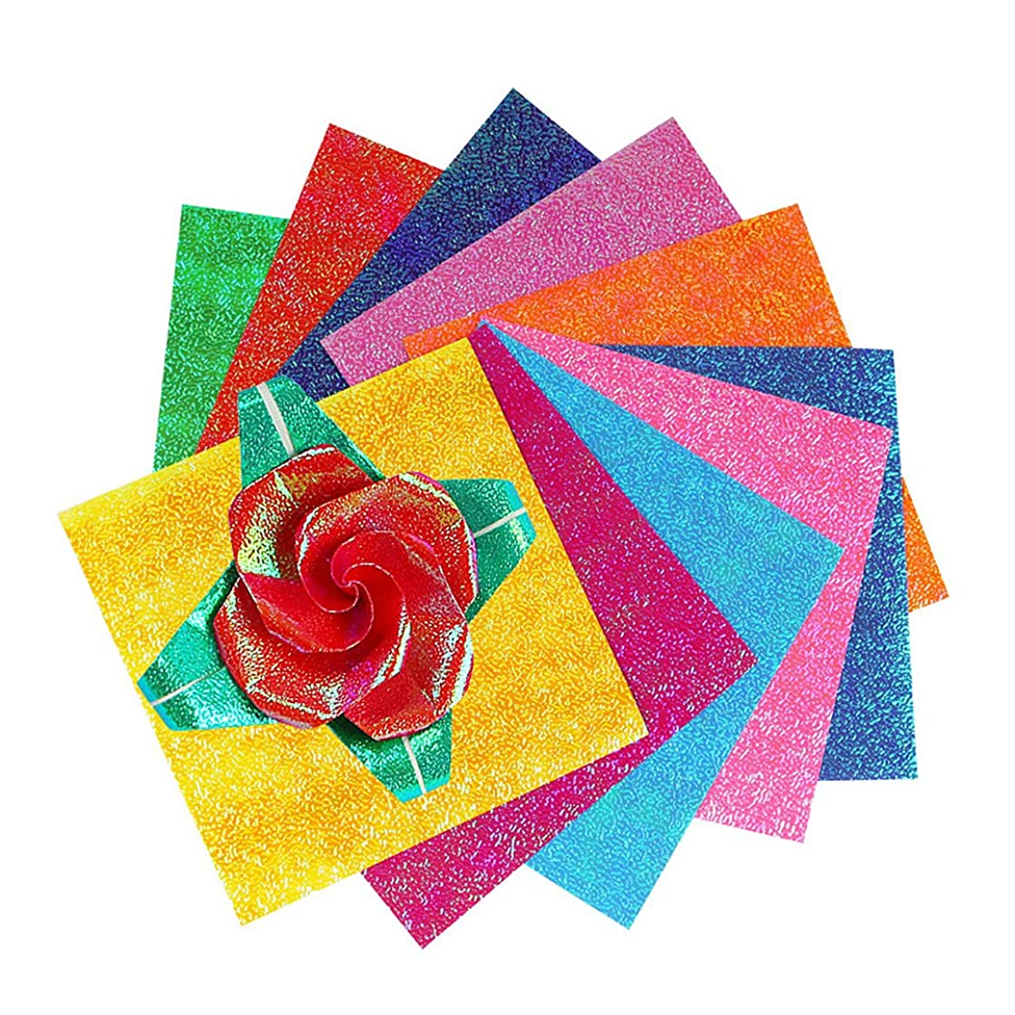 Naimo Shiny Origami Paper - 50 Sheets - 10 Colors - 7.8 Inch Square Easy Fold Paper for Beginner