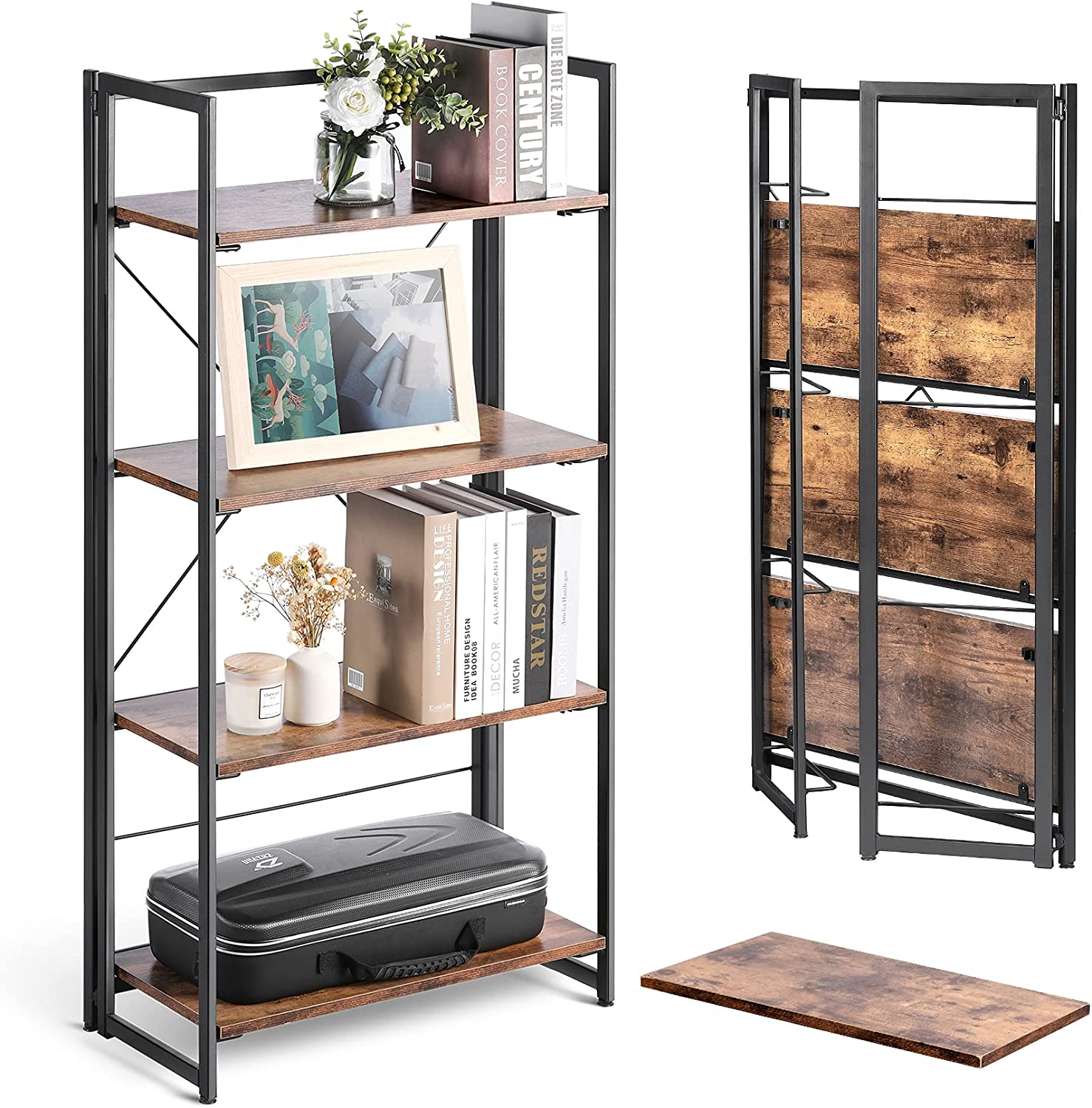 alvorog 4 Tier Folding Bookshelf No Assembly Bookcase Rustic Wood and Metal Frame Book Shelves, Industrial Accent Furniture, Storage Shelves for Living Room, Office, Bedroom and Kitchen
