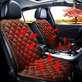 Car 24V Front Seat Heater Cushion Warmer Cover Winter Heated Warm, Double Seat High Quality (Color : Coffee)