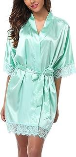 أردية قصيرة من الساتان للسيدات من أولد تايمز لإشبينة العروس ثوب نوم مثير مزخرف بالدانتيل خفيف الوزن رداء حمام