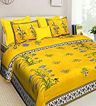 JAIPUR PRINTS Traditional Jaipuri Print 1 Double Bed Sheet with 2 Pillow Covers (100% Cotton)