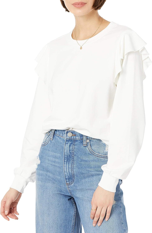 The Drop Women's Ruby Ruffle-Shoulder Supersoft Stretch Sweatshirt