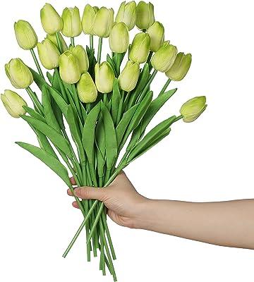 Anaoo 24pcsTulipes Artificielles en Latex, Bouquet Fleurs Artificielles de mariée pour la Maison, Mariage, Fête, Décoration de Bureau, Arrangements Floraux,