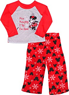 Disney Minnie Mouse Gray Red White Hearts 2-Piece Short Pajamas Girl Size 8 NEW