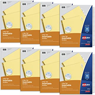 Avery 8 Tab Binder Dividers, Insertable Clear Big Tabs, 1 Set Pack, 8 Packs, 8 Sets Total (11112)