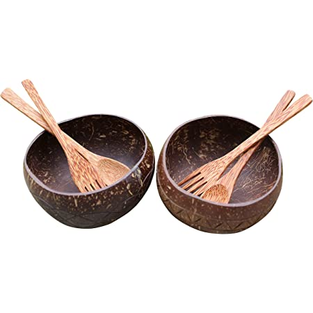 Set of 2 Perfect for Breakfast Cereals Pasta Noodles Soup Salad Dessert Jumbo Coconut Bowls Spoon and Fork Plantecco Organic Eco Friendly Lightweight Easy Clean Coconut Shells Vegan Friendly