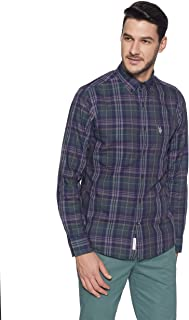 US Polo Men's Checkered Regular Fit Casual Shirt