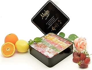 Mix Plain Turkish Delight Tin Box (No Nuts) - 5 different flavors: Rose, Strawberry, Lemon, Orange & Mint - 100 Pcs Approx. (Gift Basket Tin Box 3 Pounds, 48 Oz)