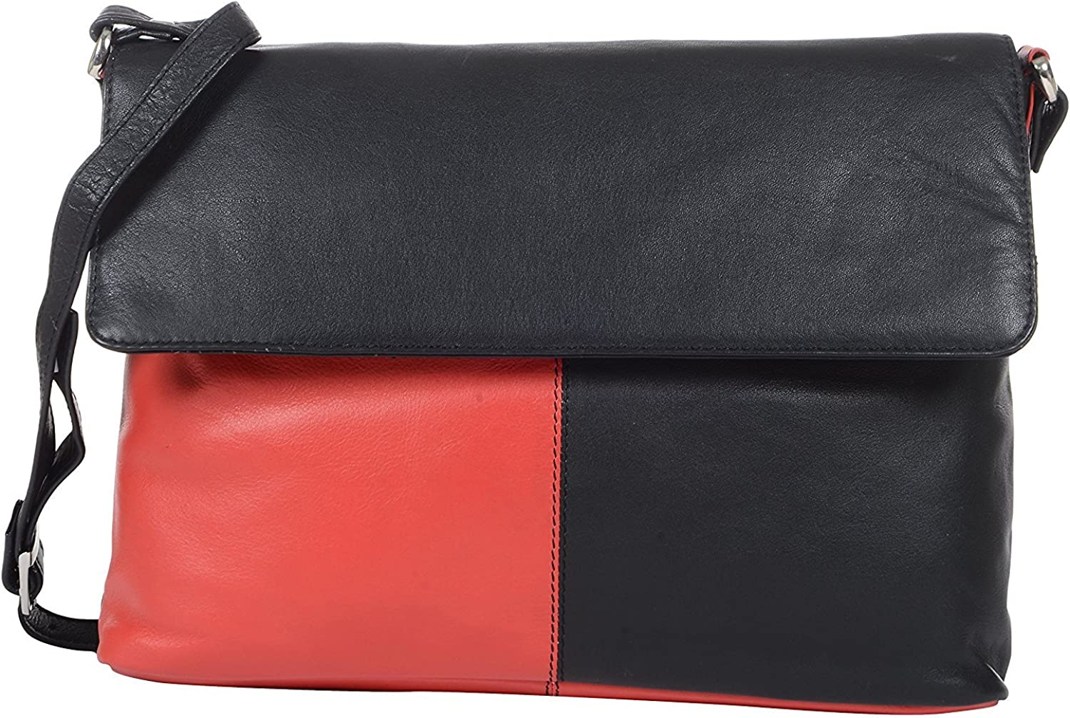 HiLEDER Women's Genuine Nappa Leather Shoulder Crossboady Messenger Bag Purse (Red and Black)