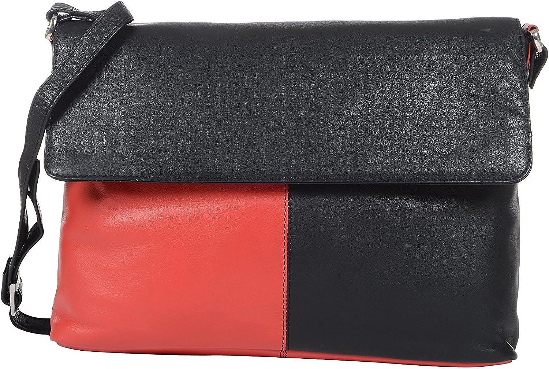 HiLEDER Women's Genuine Nappa Leather Shoulder Crossboady Messenger Bag Purse (Red and Black)