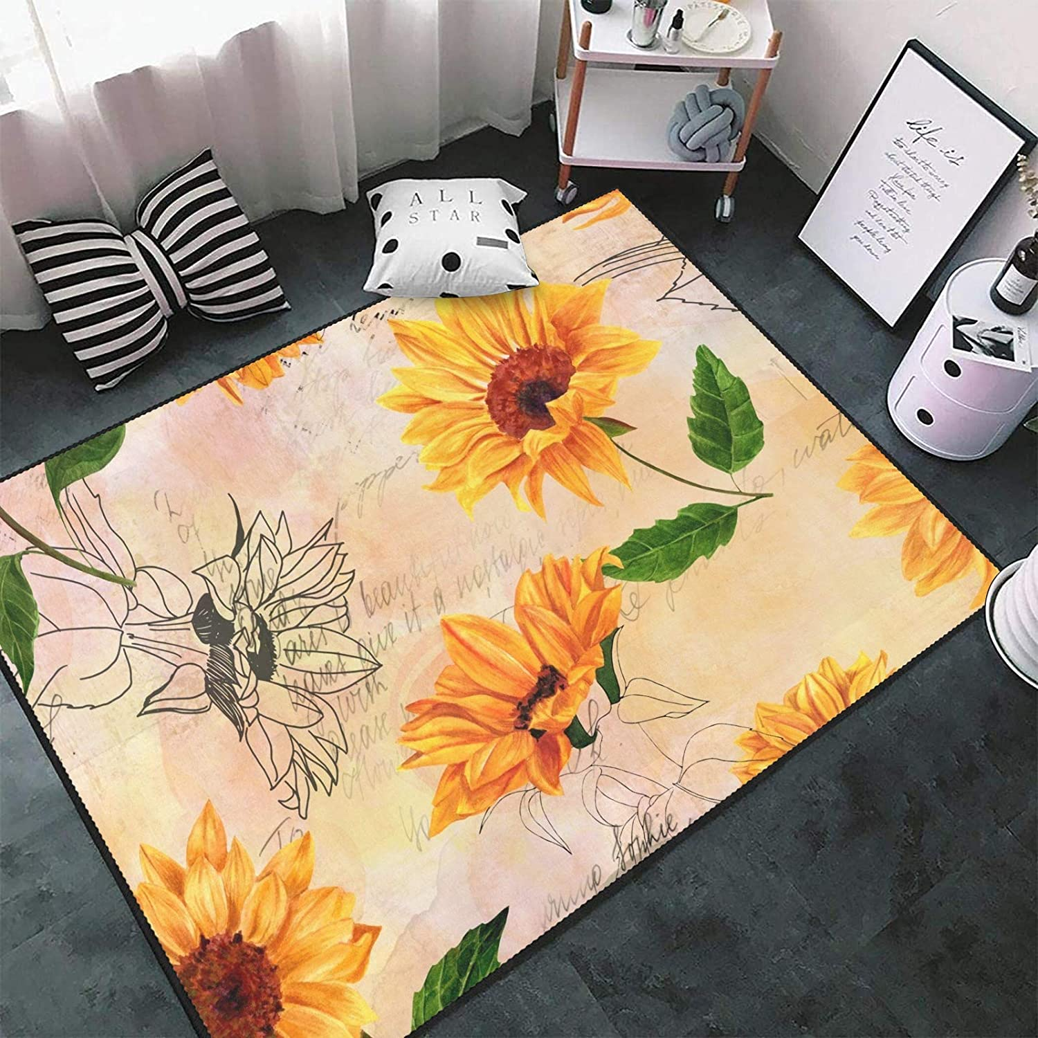 Los Angeles Mall Vintage Watercolor Sunflowers Area Rug Floor Max 80% OFF Non-Slip Carpets Ma