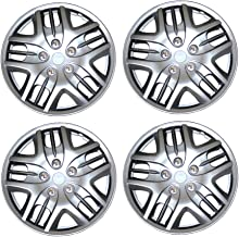 Tuningpros WC3-16-1025-S - Pack of 4 Hubcaps - 16-Inches Style 1025 Snap-On (Pop-On) Type Metallic Silver Wheel Covers Hub-caps