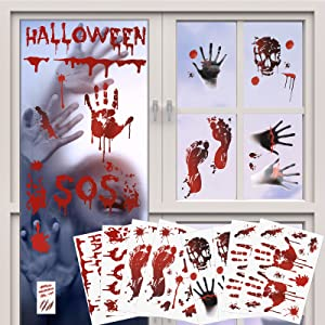 82PCS Halloween Party Decoration Stickers Halloween Window Decals Horror Bloody Handprints Footprints Floor Stickers Vampire Zombie Party Decorations Supplies Scary Decals