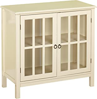 Target Marketing Systems Portland Collection Contemporary China Kitchen Cabinet with Glass Cabinet and One Shelf, Antique White