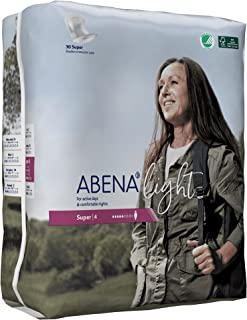 Abena Light Premium Incontinence Pad, Super 4, 180 Count (6 Packs of 30)
