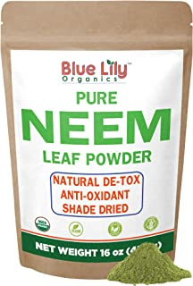 Blue Lily Organics Neem Leaf Powder (Azadirachta indica) 16 oz, 100% Pure, Certified Organic for Hair and Skin