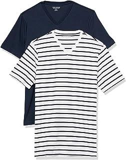 Amazon Essentials Lot de 2 T-shirts, col en V, coupe ajustée, pour homme