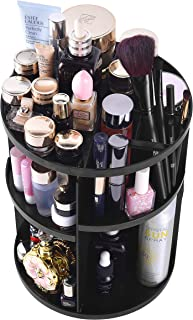 Lermende 360 Rotating Makeup Organizer, DIY Adjustable Jewelry Cosmetic Perfumes Holder Storage Rack Display Stand Box, Large Capacity Round Bathroom Storage Tower, Best for Countertop (Black)