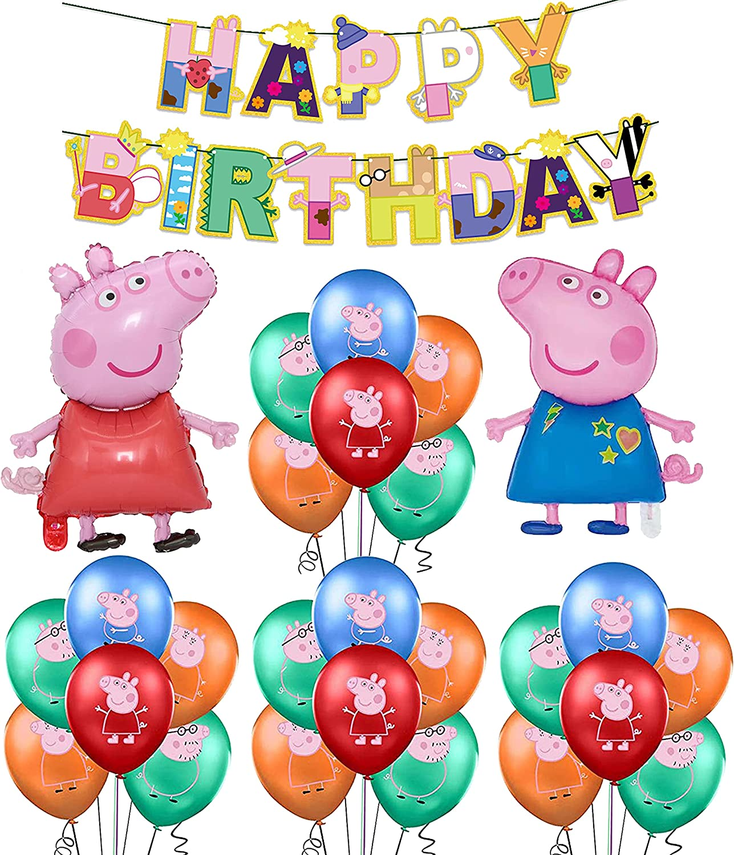 smileh Decoraciones de Fiesta Cumpleaños Peppa Pig Globos Pancarta de Feliz Cumpleaños George Pig Globos de Aluminio para Niños Kit de Decoraciones de Cumpleaños de George Peppa Pig