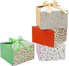 Belle Vous Geschulpte Papieren Vierkante Geschenk Doosjes met Lint (20 Pak) – 14,7 x 14,7 x 9,4 cm – Kleine Doosjes voor DIY Huwelijk en Feestgeschenken, Handgemaakte Zeep & Snoep