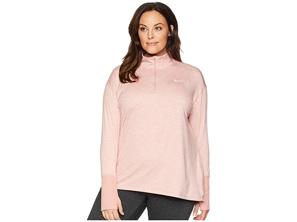 Nike Element 1/2 Zip Top (Sizes 1X-3X) (Rust Pink/Heather) Women