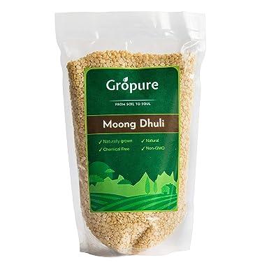 Gropure Organic Moong Dal Dhuli (Green Gram Skinned), 500g