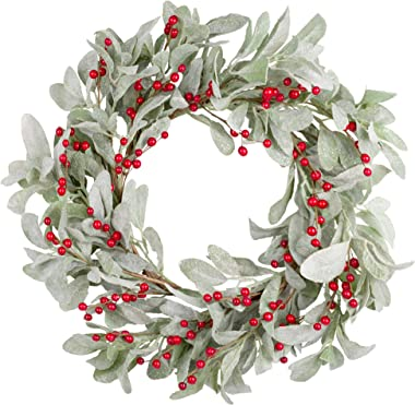 Skrantun 18 Inch Christmas Wreath Green Leaves Wreath Berry Wreath for Front Door Christmas Decorations with Glittering Ornam