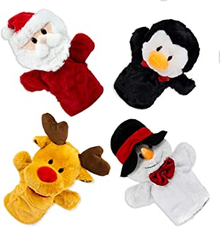 Beverly Hills Teddy Bear Christmas Puppets - Plush Santa Claus, Rudolph, Snowman, and Penguin - Hand Puppets for Kids - St...