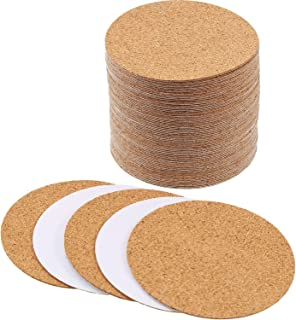 Hotop Self-adhesive Cork Coasters Squares Cork Mats Cork Backing Sheets for Coasters and DIY Crafts Supplies (60, Round)