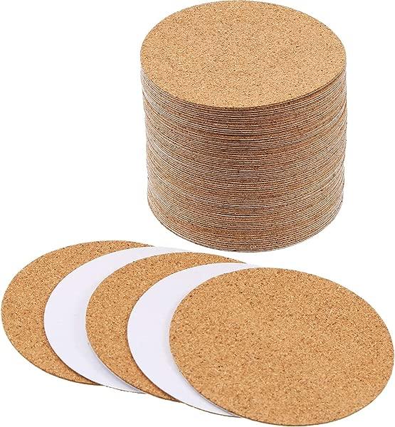 Hotop Self Adhesive Cork Coasters Squares Cork Mats Cork Backing Sheets For Coasters And DIY Crafts Supplies 60 Round