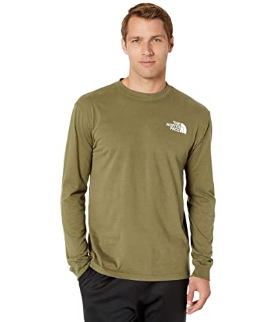 The North Face Long Sleeve Red Box T-Shirt (Burnt Olive Green/Burnt Olive Green) Men