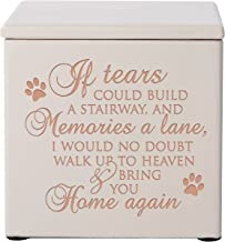 LifeSong Milestones Cremation Urns for Pets Small Memorial Keepsake Box for Dogs and Cats, Urn for pet Ashes If Tears Could Build a Stairway and Memories a Lane Holds Small Portion of Ashes (Ivory)
