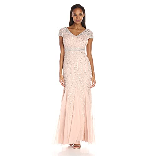 e96673b6bb7a5 Adrianna Papell Women's Cap Sleeve Beaded Lace Godet Gown