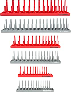 """OEM TOOLS 22413 6 Piece Socket Tray Set, Red and Gray, Socket Rails, Holds 80 SAE & 90 Metric Sockets 
