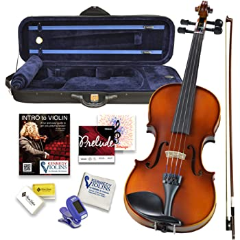 Bunnel Premier Violin Outfit 4/4 Full Size - Carrying Case and Accessories Included - Highest Quality Solid Maple Wood and Ebony Fittings By Kennedy Violins