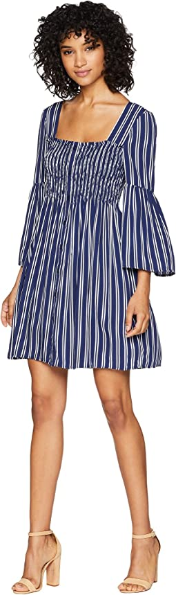 Call The Shots Striped Rayon Challis Dress
