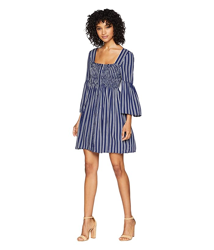 Jack by BB Dakota Call The Shots Striped Rayon Challis Dress (Dark Blue) Women