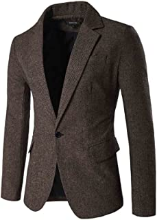 Mens Herringbone Fit British Style Blazer One Button Sport Coat