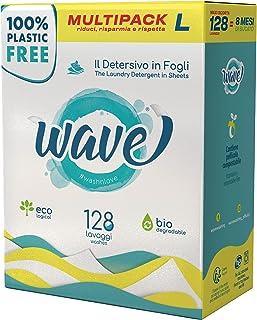 Wave Washing Classic – El Detergente en Hojas – 100% LIBRE DE PLÁSTICO – Multipack L - 128 lavados – Ecológico – Biodegrad...