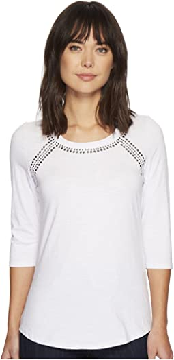 Tribal - 3/4 Sleeve Beaded Solid Jersey Slub Top