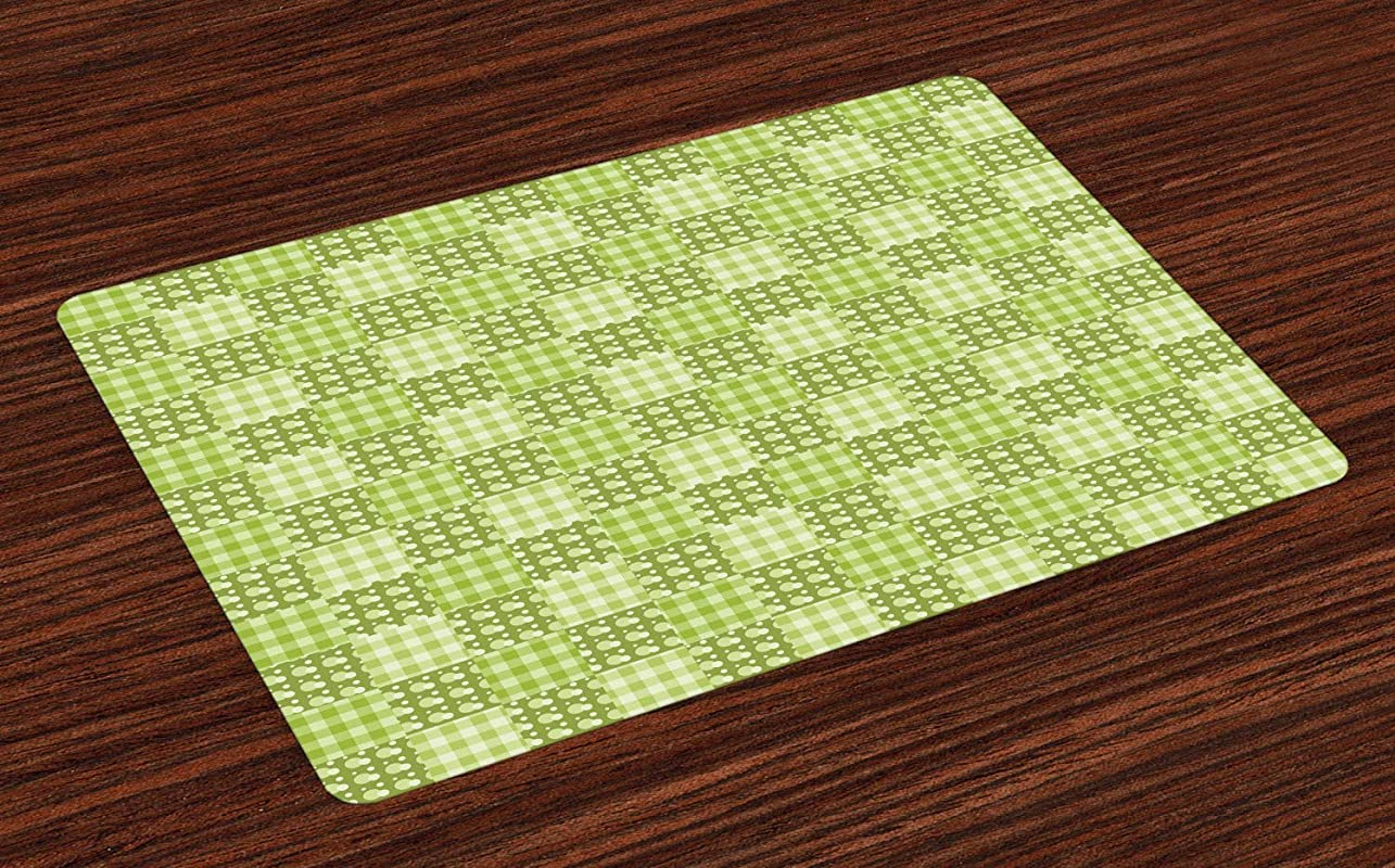 Ambesonne Abstract Place Mats Set Of 4 Polka Dots And Checkered Pattern Textured Patchwork Simplistic Artwork Washable Fabric Placemats For Dining Room Kitchen Table Decor Lime And Pale Green
